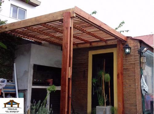 pergolas de madera con chapa traslucida antigranizo