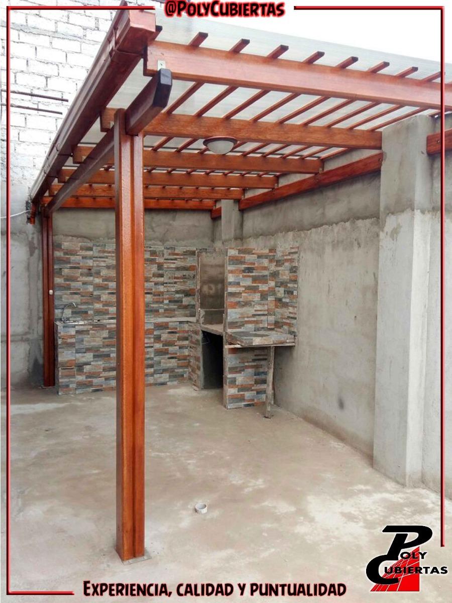 Pergola policarbonato zinka techos pergolas de madera y for Pergola policarbonato