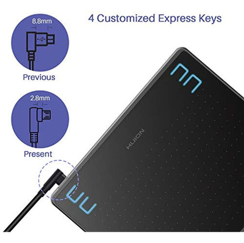 Perifericos 2019 Huion Hs64 Drawing Tablet,