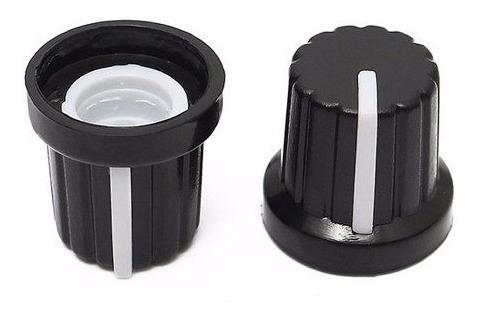 perilla potenciómetro 6 mm diámetro plastico negra y blanco