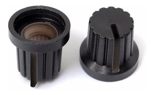 perilla potenciómetro 6 mm diámetro plastico negras