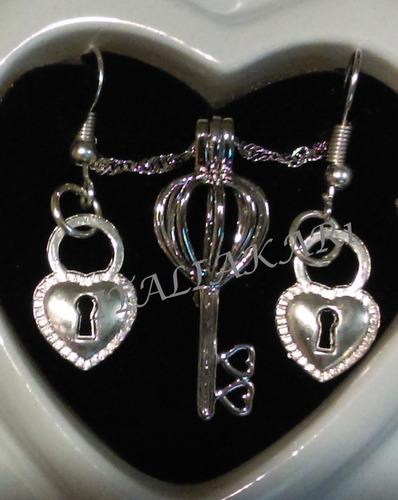 perla cultivada en ostra real+dije,collar oro+ aretes regalo