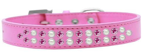 perla dos hileras y collar perro rosa brillante rosa tamaño