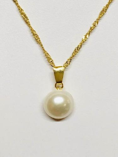 perla natural 14mm y cadena de chapa de oro 22k