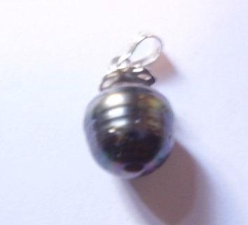 perla negra barroca tahitiana , en colgante de plata