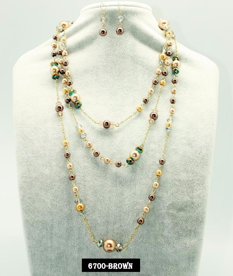 77b064d0de2c Maxi Collar De Perlas Y Cristal Con Aretes Joyeria De Mayore ...