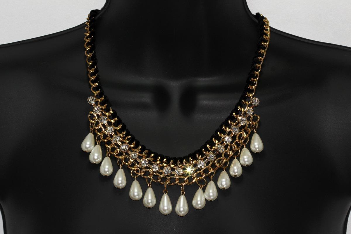 8403b2357b0a Cargando zoom... collar dorado perlas cristales joyeria mujer ...
