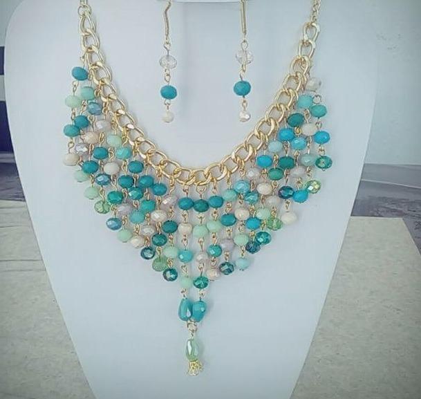 10e50ecb03ef perlas joyeria collar 4 4 maxi collar de perlas y cristal aretes joyeria  mayoreo