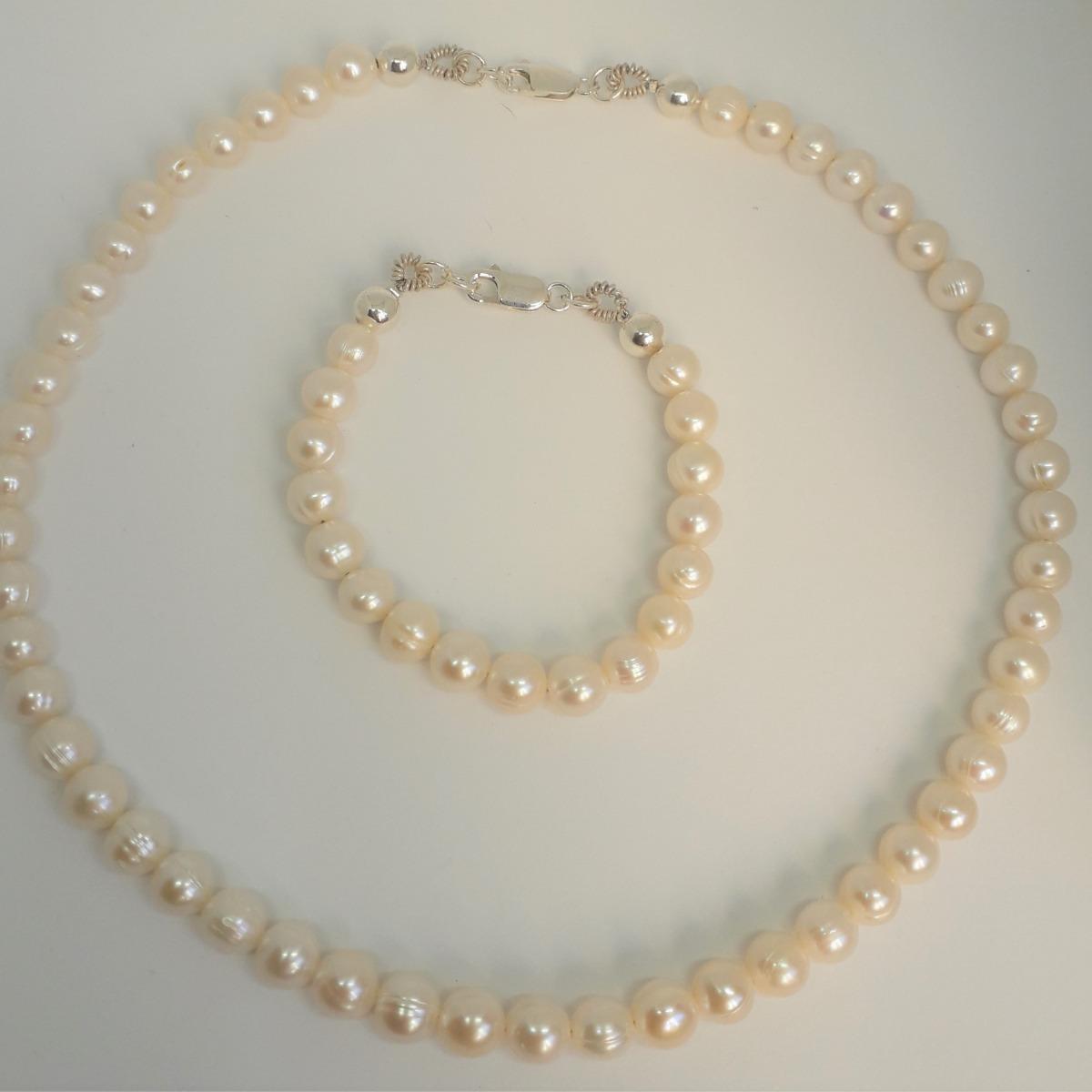 83bacc029900 perlas naturales cultivada plata 925 collar+pulsera+aros. Cargando zoom.