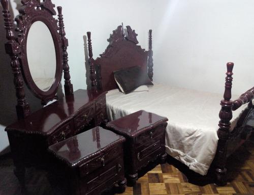 permuto juego alcoba antiguo tallado cama doble tocador mesa