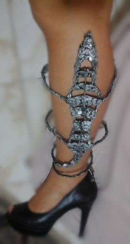 perneira dragão prateado fosco artesanal rock cosplay gotic