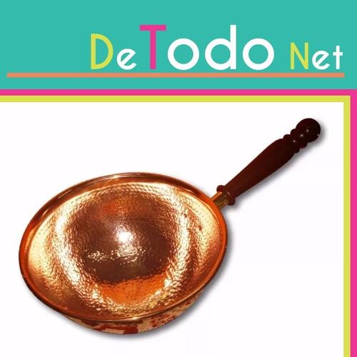 perol cobre 22 cm de diametro con mango de madera paila