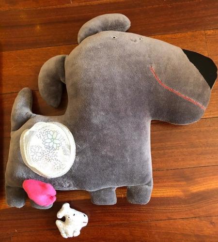 perrita mama con 2 perritos imanes muñeco de tela 30cm