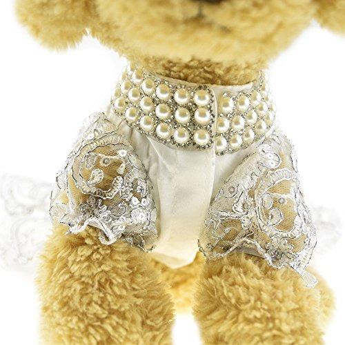 perrito de lujo encaje perla vestido para gato mascota perro