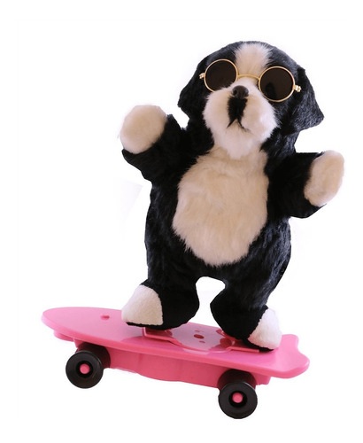 perro de peluche bailarín con patineta