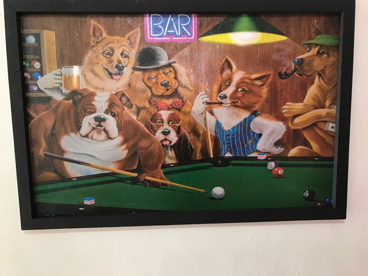 Perros Jugando Pool Cuadro Decorativo 285 00 En Mercado Libre