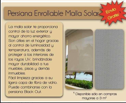 persiana enrollable black out o malla solar + envío gratis