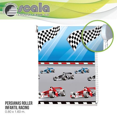 persiana scala roller blackout infantil 80 x 160 racing