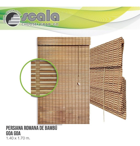 persiana scala romana de bambu con cenefa 140 x 170 goa goa