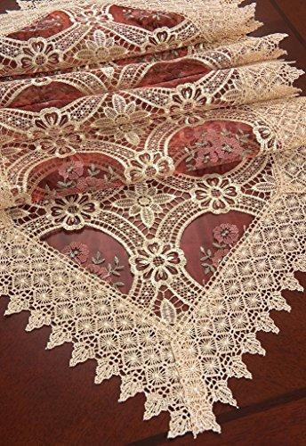 personalizada cordón beige elegante mesa runner y bufandas