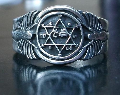 personalizado anillo rey salomón estrella david israel plata