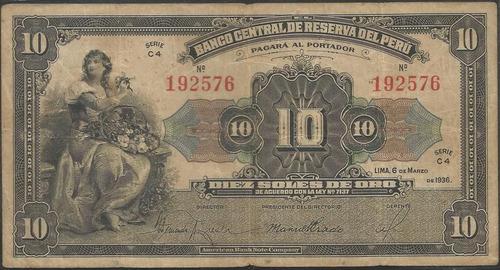 peru 10 soles 6 marzo 1936 p67a