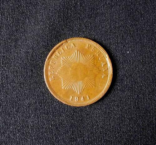 peru, 2 centavos 1941 (con empastes)