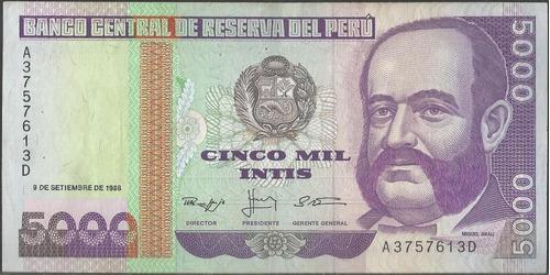 peru 5.000 intis 9 sep 1988 p139