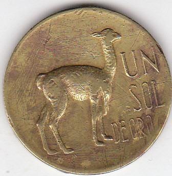 perú, antigua moneda de cobre un sol de oro 1.968