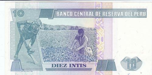 perú,  antiguo billete coleccionable, 10 intis 1.987 unc
