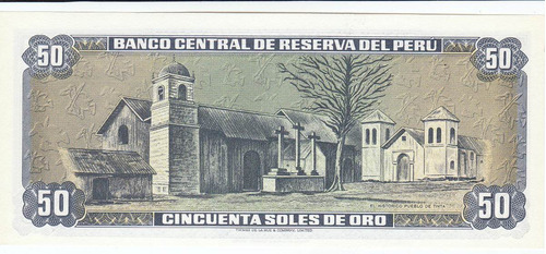 perú, antiguo billete coleccionable 50 soles oro 1.977 unc