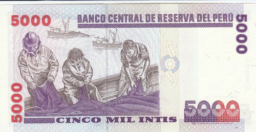 perú,  antiguo billete coleccionable, 5.000 intis 1.988 unc