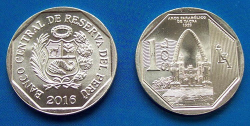 perú - moneda 1 sol 2016 - arco parabólico tacna  ¡ nueva !