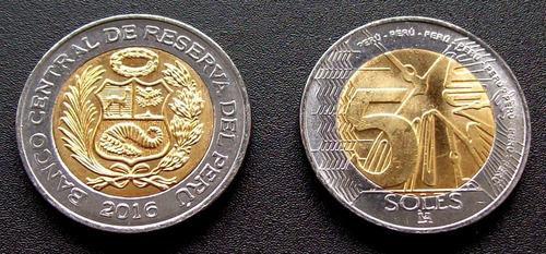 perú - moneda bimetálica 5 soles 2016 - 1ª premios latinum