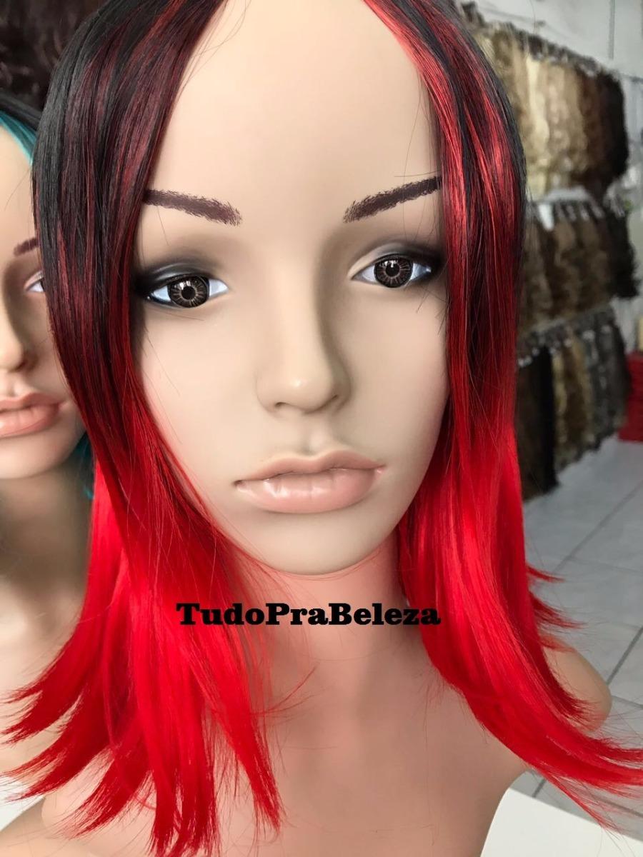 c00139f28 peruca chanel bico ombre hair preta com vermelho fibra japo. Carregando zoom .