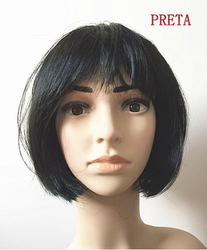 peruca curta cor preto para festa carnaval natal namorada