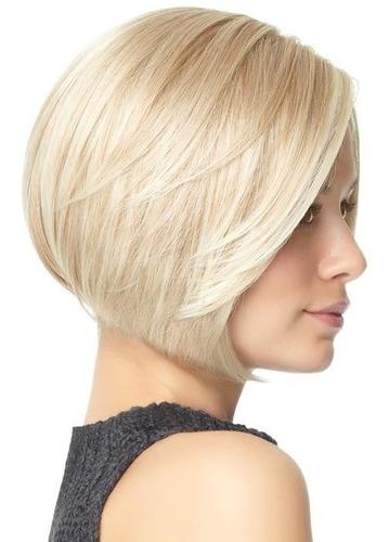 peruca curta lisa / loira / com ajuste / aceita temperatura