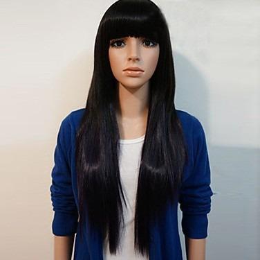 peruca fibra japonesa / preta lisa / com ajuste / 60 cm