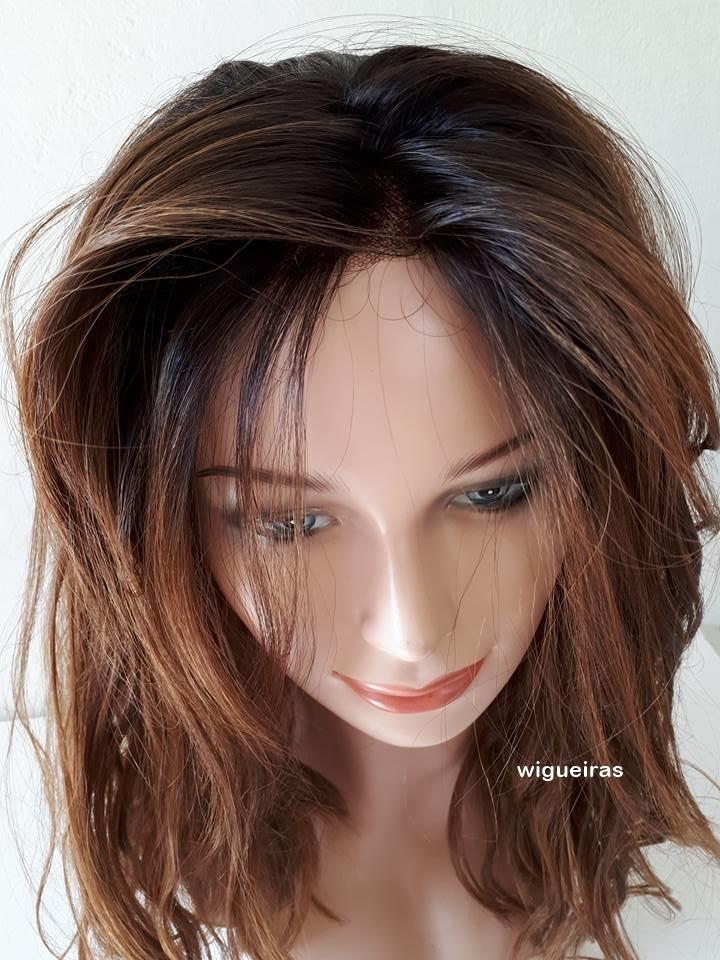 Peruca Front Lace Castanho Mechado Luzes Ombre Hair 4x4 R 510