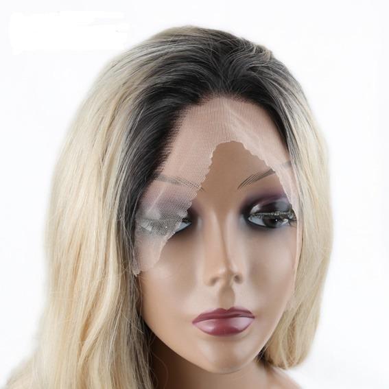 Peruca Lace Front Ombre Hair Loira Cacheada Paola Pronta En R 485