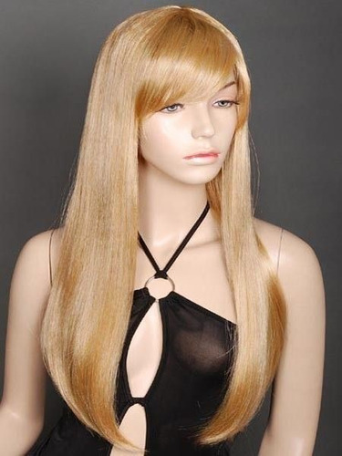 peruca loira lisa 55 cm / com ajuste / igual cabelo humano.