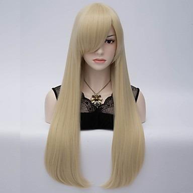 peruca loira lisa / 60 cm / com ajuste + brinde.