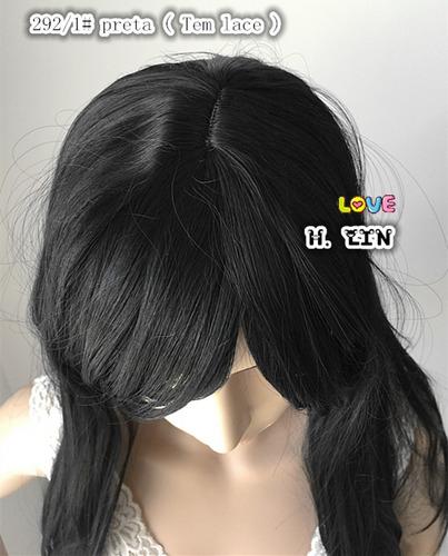 peruca long 292/1 fibra carnaval namorada festa cor preta 1b