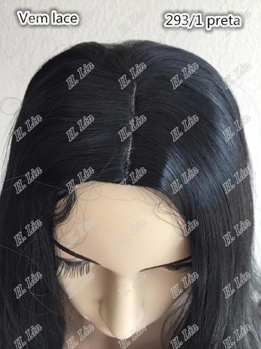 peruca longa 293 cor 1# preta parace natural lace 80cm 245gr