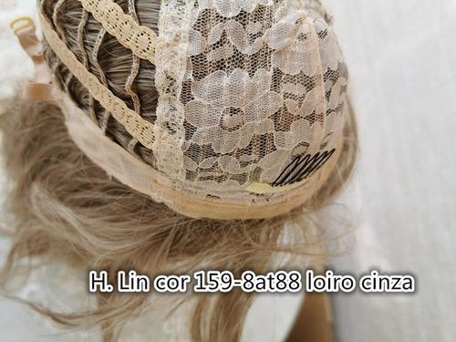 peruca longa 293 sem franja cor 18/613 loira acinzentado pla