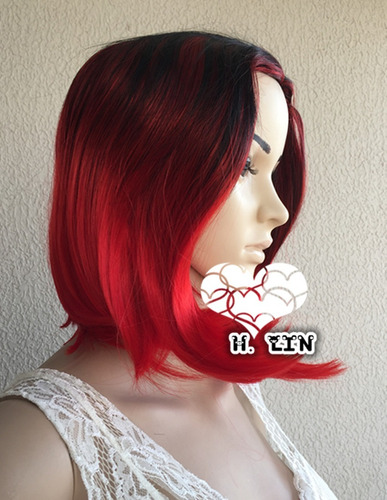 peruca longa cabelo 313 preta vermelha ombre hair california