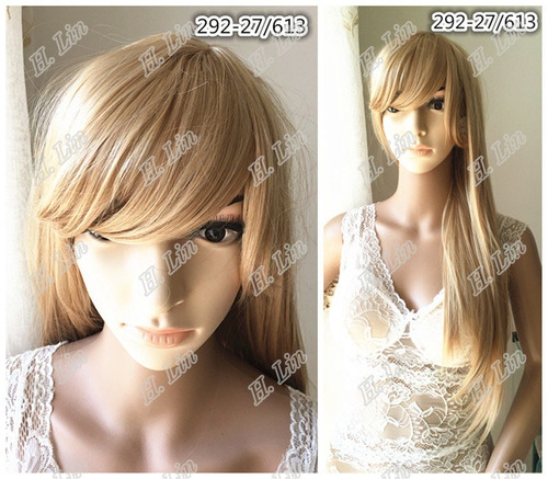 peruca longa cabelo carnaval cor 27/613 loiro cinza 292 ombr
