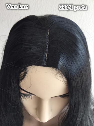 peruca longa cor preta 293-1 sem franja lisa 80cm 245gramas