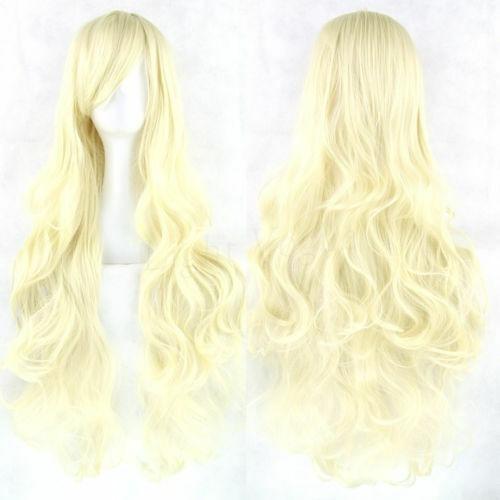 peruca longa loiro cosplay ondulado 70 cm promoção