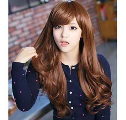 peruca marrom escuro / com ajuste / igual cabelo humano.